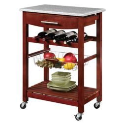 Linon Home Décor Products 23 Inch  Granite Top Kitchen Cart With Single Drawer, Removable Basket & Wine Storage