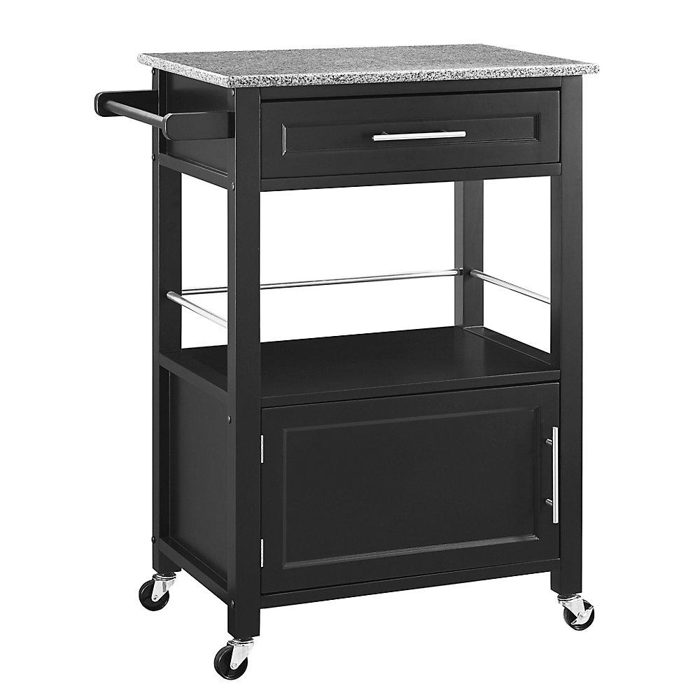 27 Inch  Black Kitchen Cart With Granite Top, Single Drawer and Door & Towel Rack