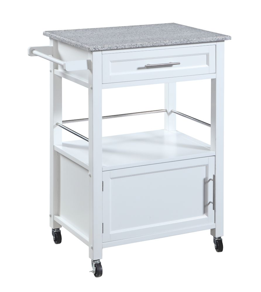 Linon Home Décor Products 27 Inch  White Kitchen Cart With Granite Top, Single Drawer and Door & Towel Rack