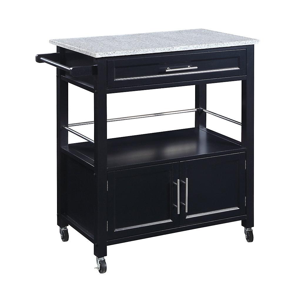 33 Inch  Black Kitchen Cart with Granite Top, Single Drawer, Double Doors & Towel Rack