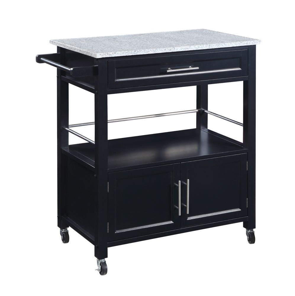 33 Inch Black Kitchen Cart With Granite Top, Single Drawer, Double Doors U0026  Towel