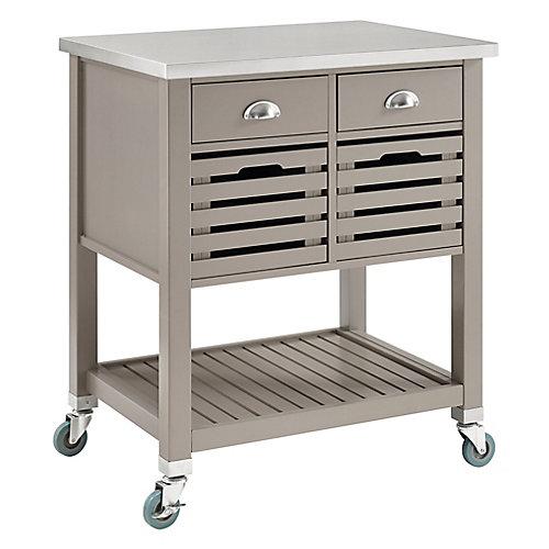 Chariot de cuisine de 30 po avec dessus en acier inox, 2 tiroirs et 2 caissons amovibles, gris