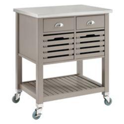 Linon Home Décor Products Chariot de cuisine de 30 po avec dessus en acier inox, 2 tiroirs et 2 caissons amovibles, gris