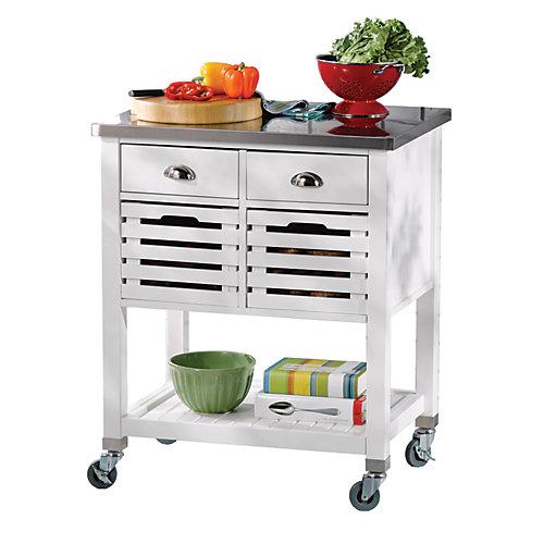 Chariot de cuisine de 30 po avec dessus en acier inox, 2 tiroirs et 2 caissons amovibles, blanc