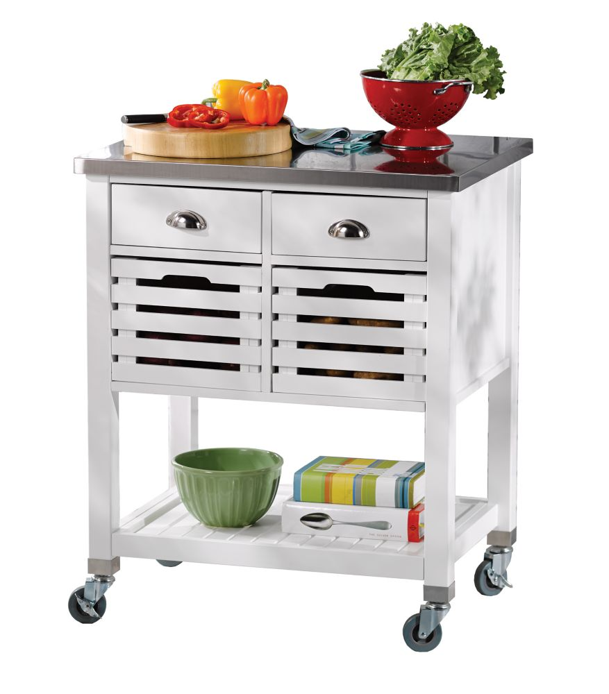 30 Inch White Kitchen Cart With Stainless Steel Top, 2 Drawer And 2  Removable Crates