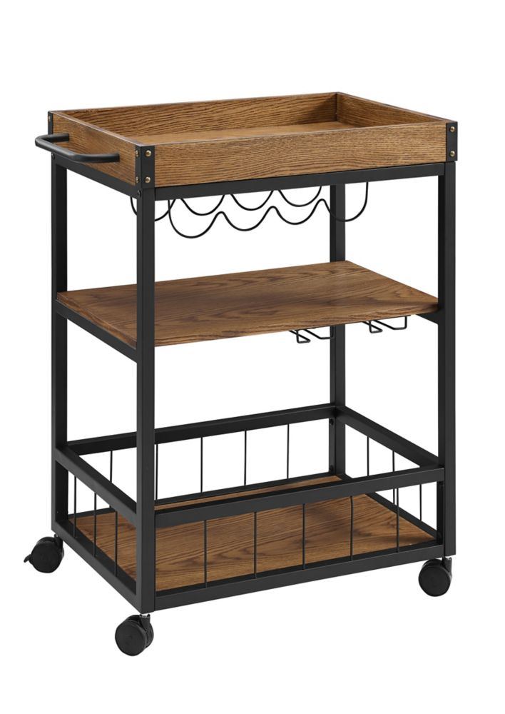 Linon Home Décor Products Rustic Kitchen Or Bar Cart With Wine & Glass Storage