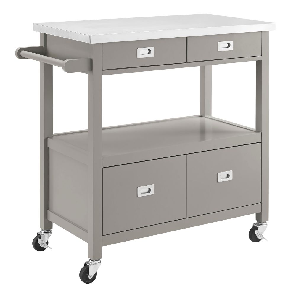 34 Inch Grey Kitchen Cart With Stainless Steel Top U0026 Modern Silver Details