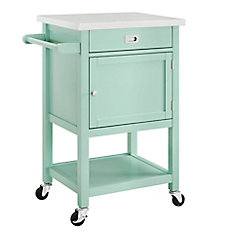 22 Inch  Light Green Kitchen Cart with Stainless Steel Top
