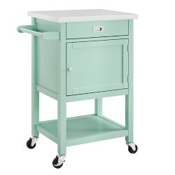 Linon Home Décor Products 22 Inch  Light Green Kitchen Cart with Stainless Steel Top