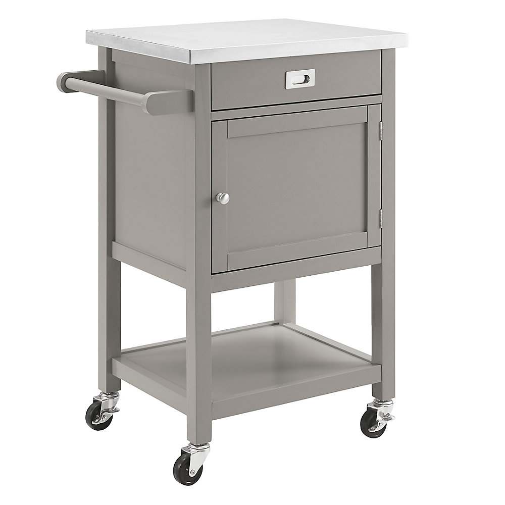 Chariot de cuisine de 22 po avec dessus en acier inox, gris