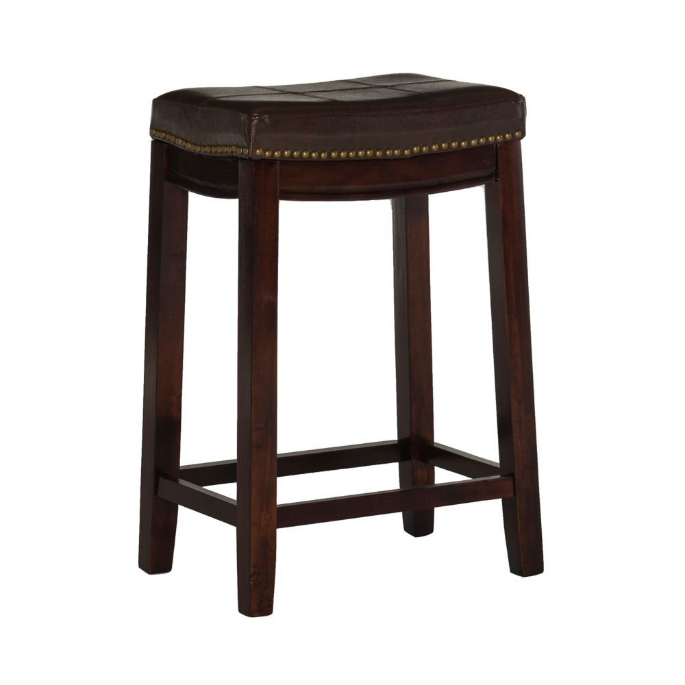 Stitched Detail Backless Counter Stool with Nailheads - Brown