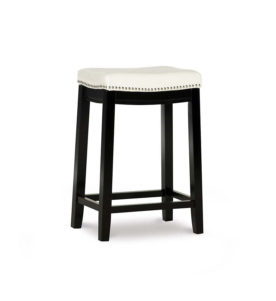 Stitched Detail Backless Counter Stool with Nailheads - White