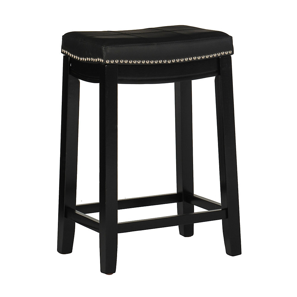Stitched Detail Backless Bar Stool with Nailheads - Black