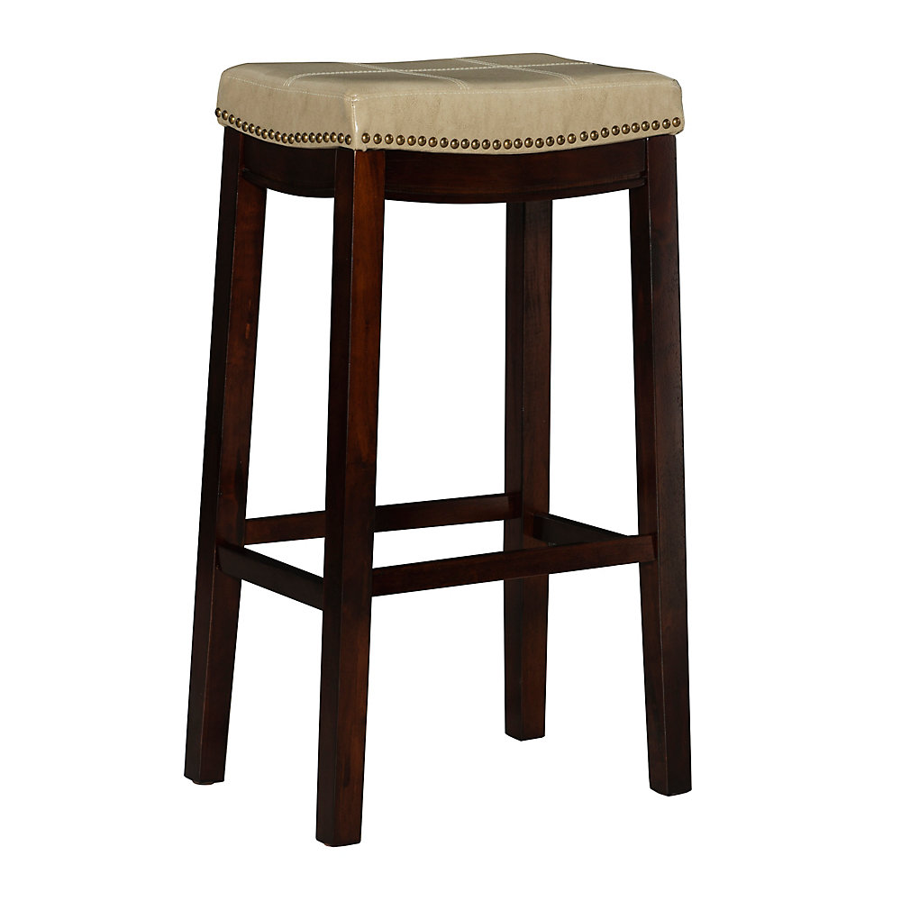 Stitched Detail Backless Bar Stool with Nailheads - Cream