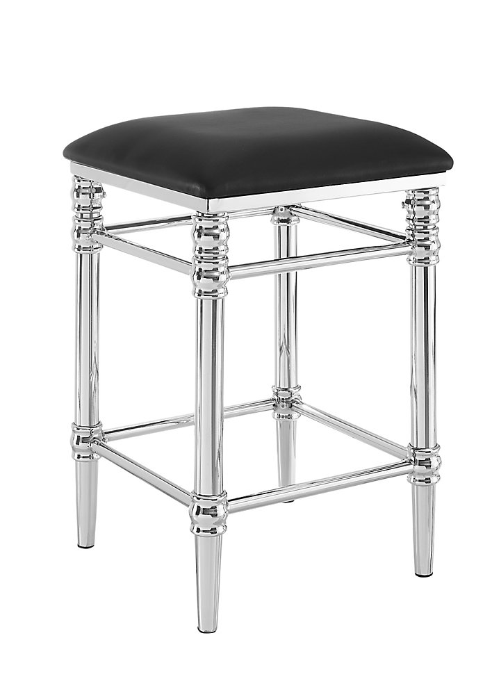 Regent Backless Chrome Base Counter Stool - Black Faux Leather