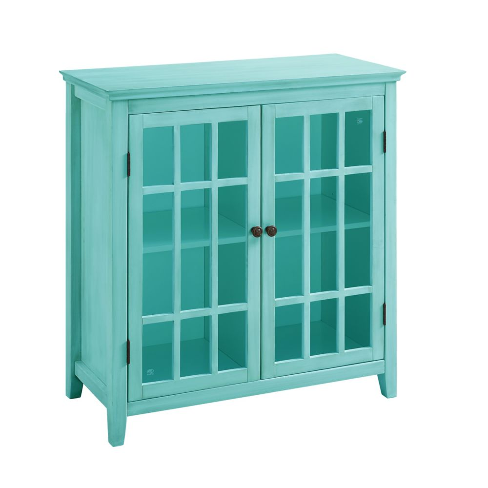 Linon Home Décor Products 36 Inch  Teal Double Door Cabinet with Interior Shelf & Glass Front