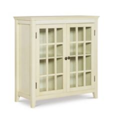 Linon Home Décor Products 36 Inch  Antique White Double Door Cabinet with Interior Shelf & Glass Front