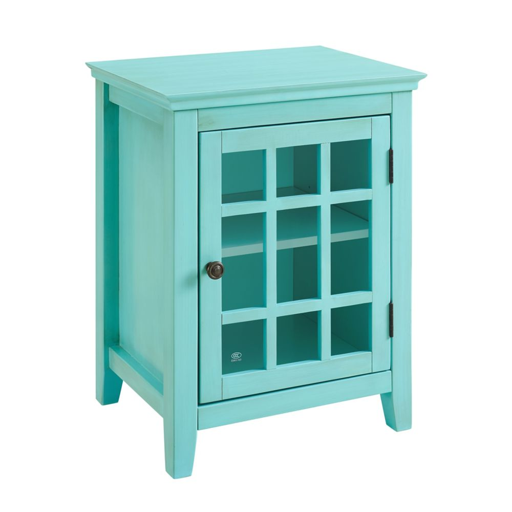 Linon Home Décor Products 20 Inch  Teal Single Door Cabinet with Glass Front