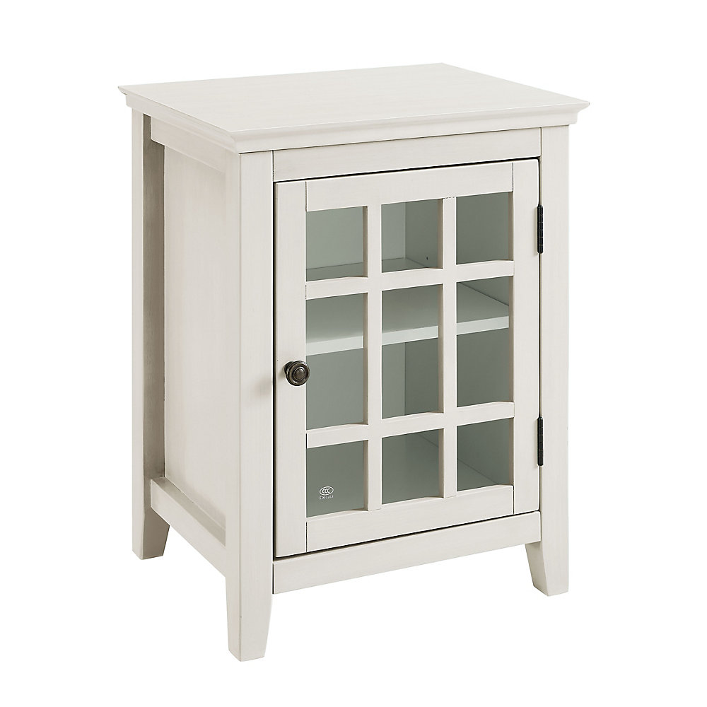 20 Inch  Antique White Single Door Cabinet with Glass Front