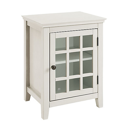 Linon Home Dcor Products 20 Inch Antique White Single Door Cabinet