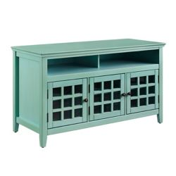 Linon Home Décor Products 48 Inch  Teal Media Cabinet with Ample Storage Space