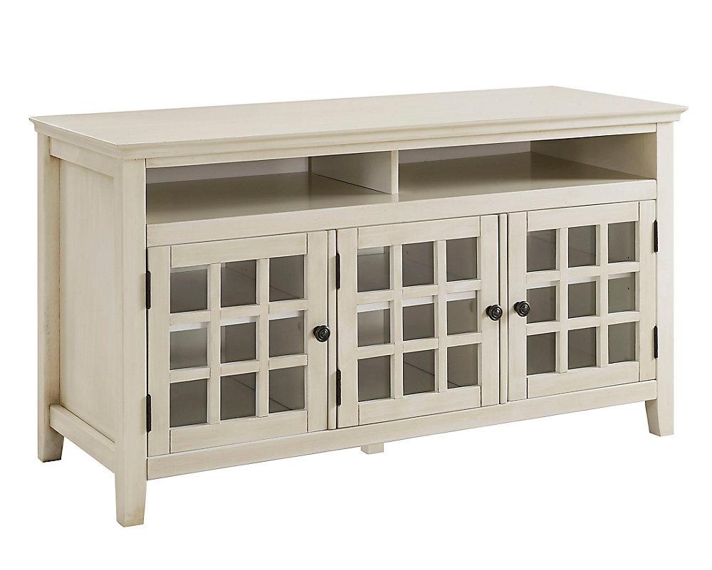 Armoire multimédia de 48 po avec grand espace de rangement, blanc antique