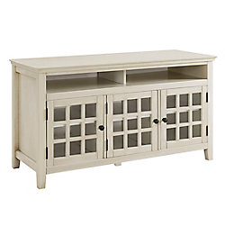 Linon Home Décor Products 48 Inch  Antique White Media Cabinet with Ample Storage Space