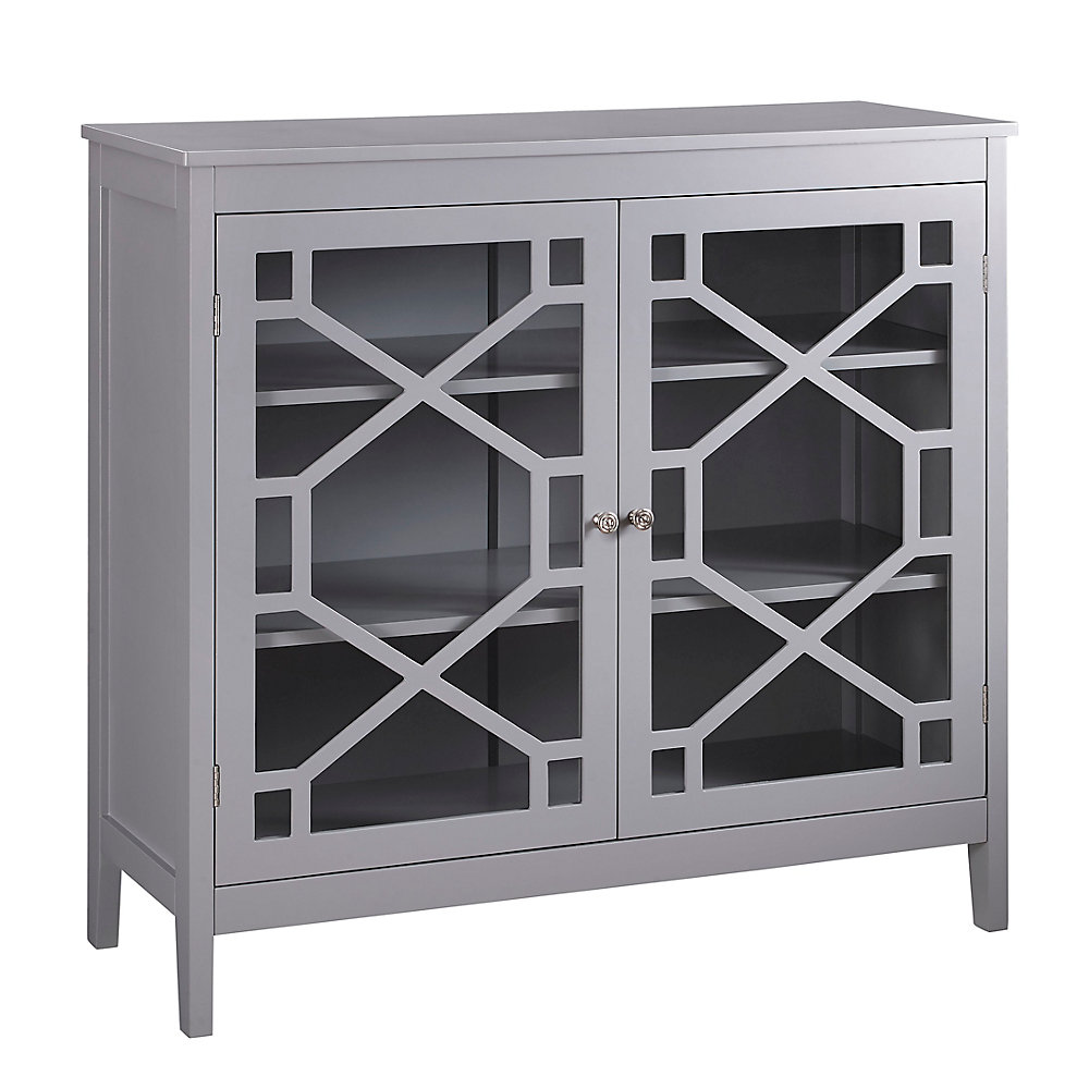 38 Inch  Grey Double Door Cabinet with Glass Front & Geo Design