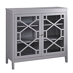 Linon Home Décor Products 38 Inch  Grey Double Door Cabinet with Glass Front & Geo Design