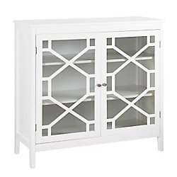 Linon Home Décor Products 38-inch White Double Door Cabinet with Glass Front & Geo Design