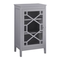 Linon Home Décor Products 20-inch Grey Single Door Cabinet with Glass Front & Geo Design