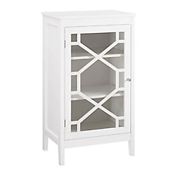 Linon Home Décor Products 20-inch White Single Door Cabinet with Glass Front & Geo Design
