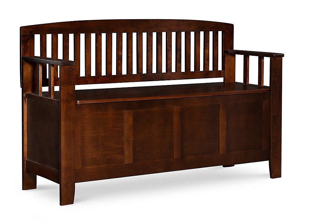 50-inch x 32-inch x 17.25-inch Manufactured Wood Frame Bench in Walnut
