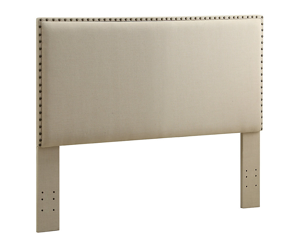 Contempo Headboard Full/Queen Size Natural With Bronzed Nail Head Trim