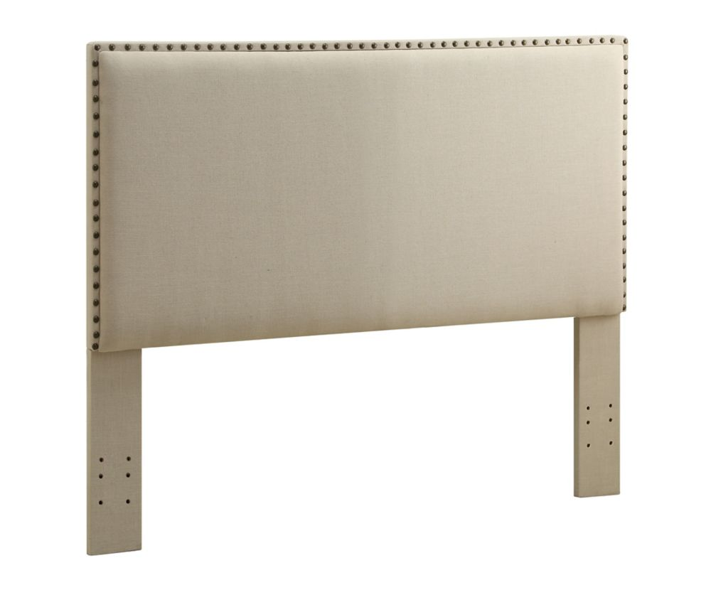 Linon Home Décor Products Contempo Headboard Full/Queen Size Natural With Bronzed Nail Head Trim