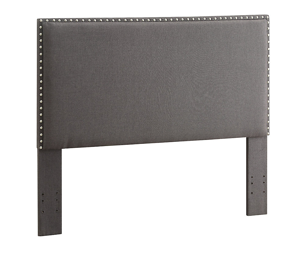 Contempo Headboard Full/Queen Charcoal With Silver Nail Head Trim