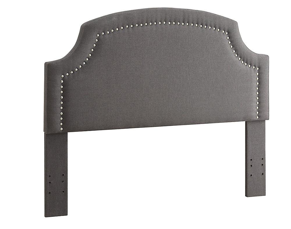 Regency Headboard Full/Queen Size-Charcoal Linen With Silver Nail Heads & Cut Away Corners