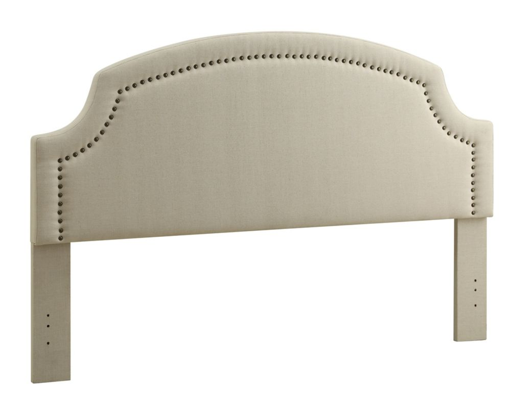 Linon Home Décor Products Regency Headboard King Size-Natural Linen With Bronzed Nail Heads & Cut Away Corners