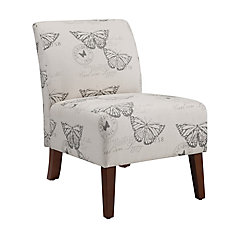 Contemporary Slipper Linen Armless Accent Chair in Natural