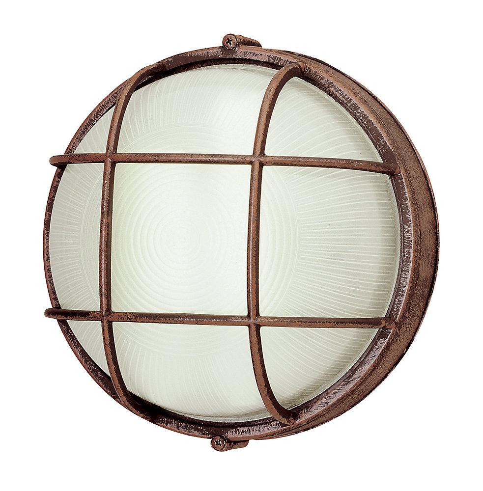 Luminaire de plafond ou murale en fini rouille d'extérieur à 1 lumière