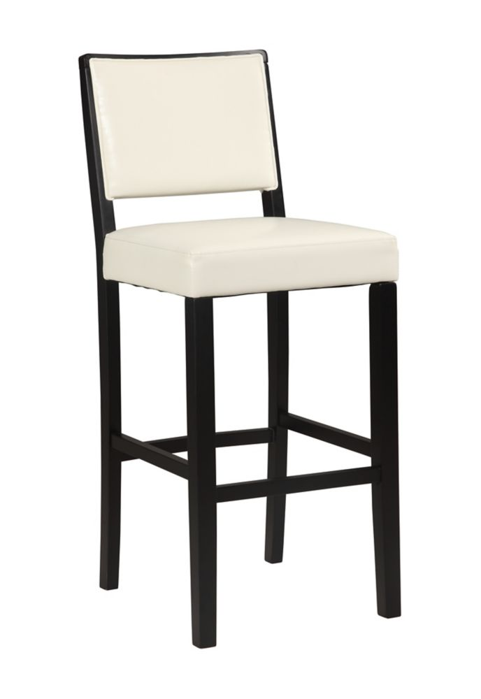 Linon Home Décor Products Zoe Solid Wood Black Contemporary Full Back Armless Bar Stool with White Faux Leather Seat