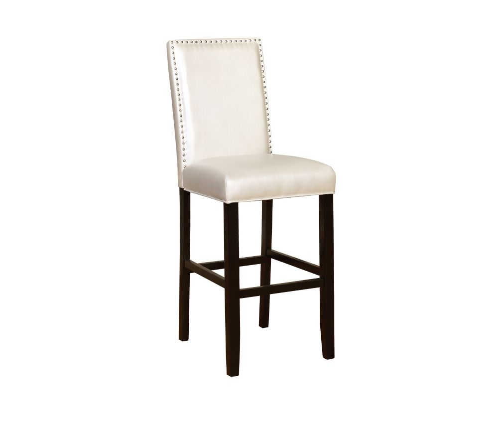 Linon Home Décor Products Stewart Solid Wood Black Modern Full Back Armless Bar Stool with White Polyester Seat