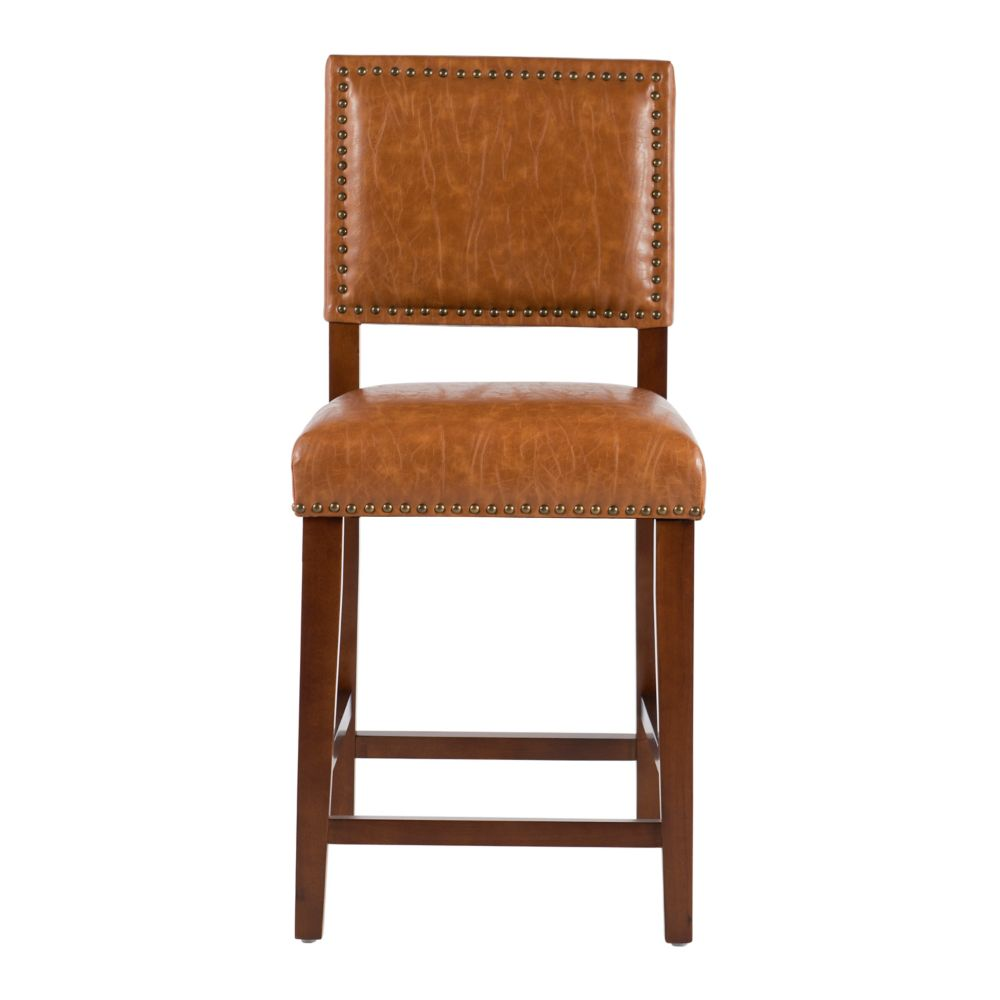 Linon Home Décor Products Solid Wood Brown Contemporary Full Back Armless Bar Stool with Brass Faux Leather Seat