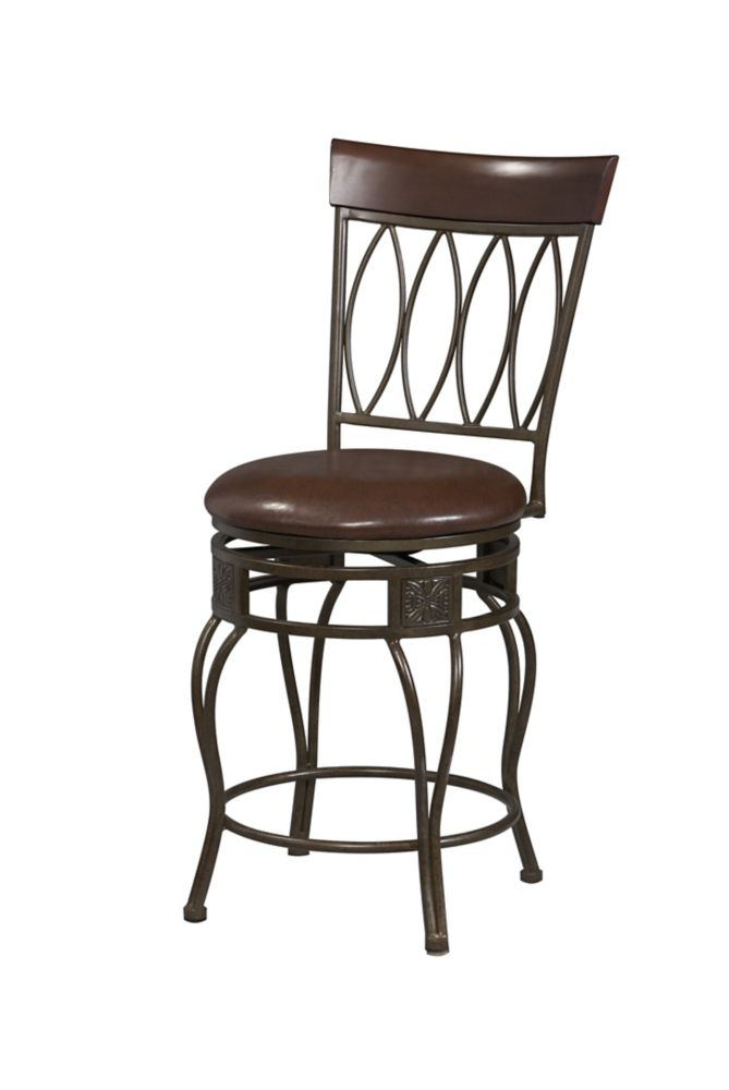 Linon Home Décor Products Metal Bronze Traditional Full Back Armless Bar Stool with Espresso Faux Leather Seat