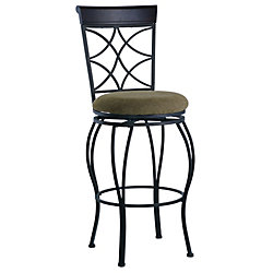 Linon Home Décor Products Metal Black Traditional Full Back Armless Bar Stool with Espresso Faux Leather Seat
