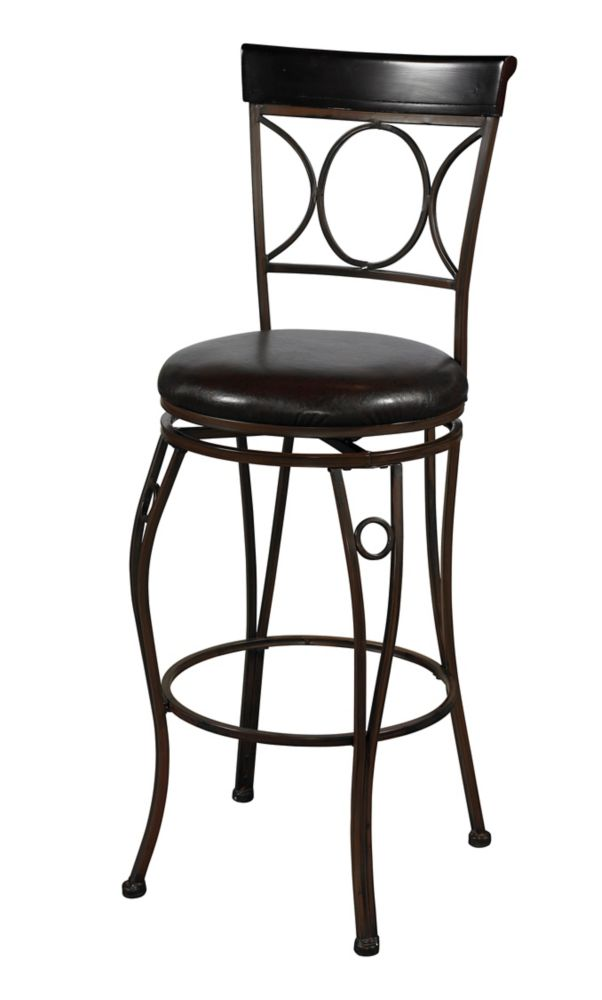 Linon Home Décor Products Circle Back Metal Black Traditional Full Back Armless Bar Stool with Espresso Faux Leather Seat
