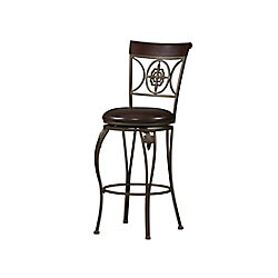Linon Home Décor Products Fleur de Lis Metal Black Traditional Full Back Armless Bar Stool with Espresso Faux Leather Seat