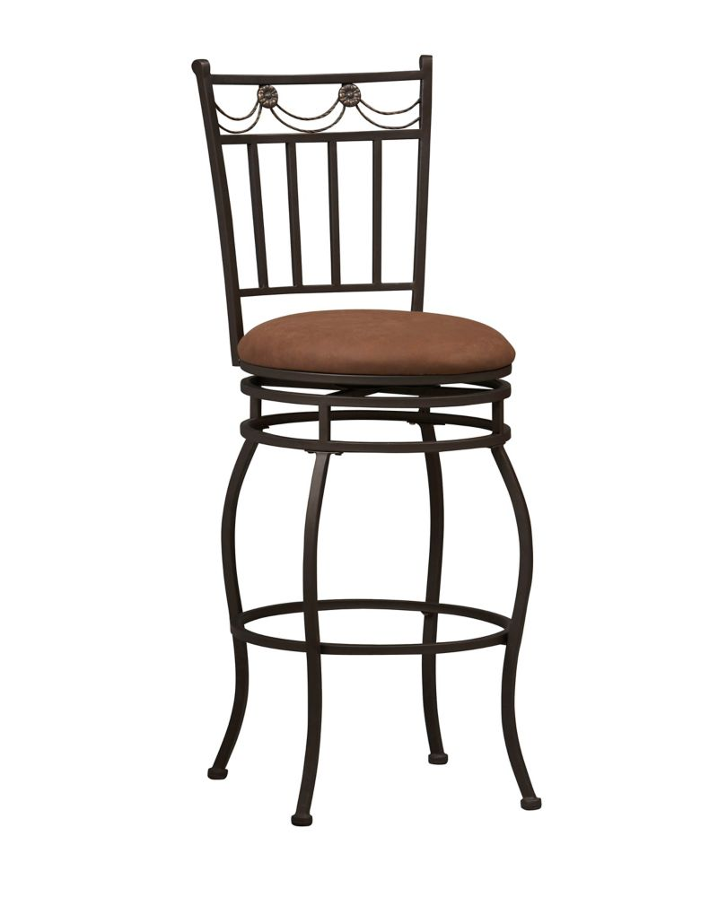 Linon Home Décor Products Swag Metal Black Traditional Full Back Armless Bar Stool with Brown Microfibre Seat