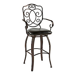 Linon Home Décor Products Crested Back Metal Black Traditional Full Back Bar Stool with Espresso Faux Leather Seat