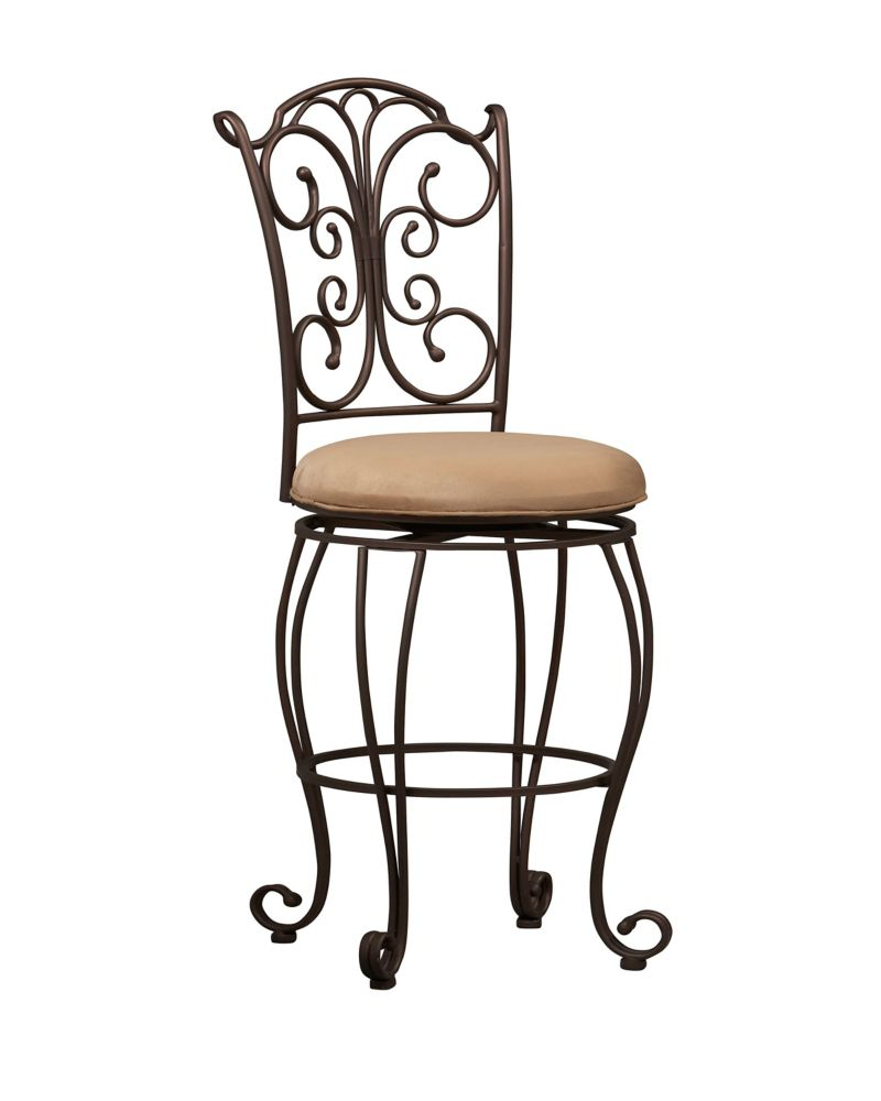 Linon Home Décor Products Metal Black Traditional Full Back Armless Bar Stool with Beige Polyester/Polyester Blend Seat